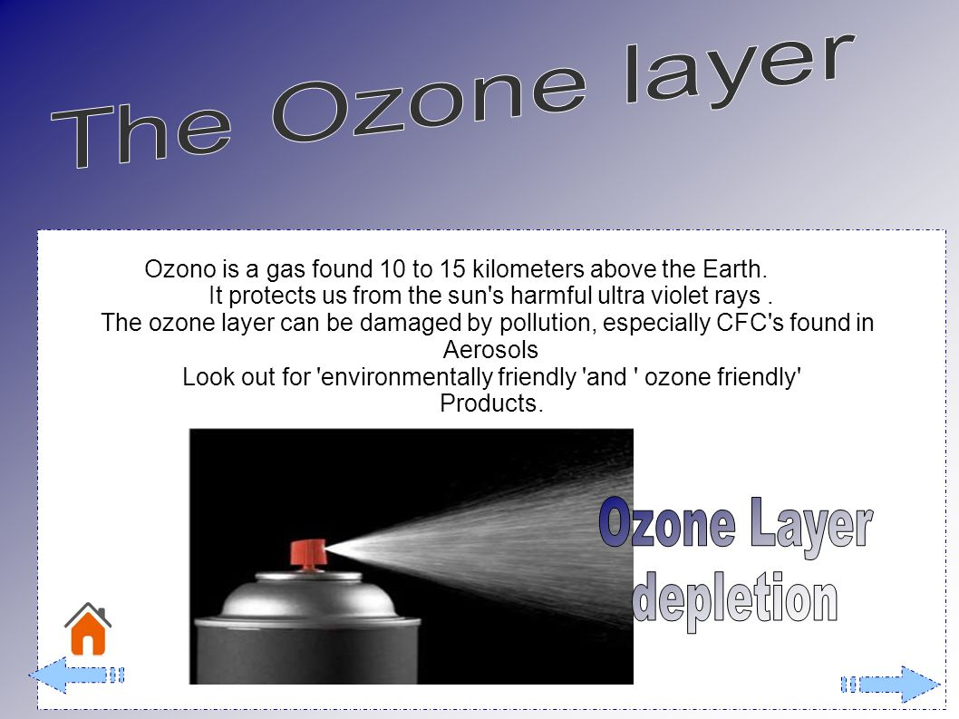 Ozono is a gas found 10 to 15 kilometers above the Earth.