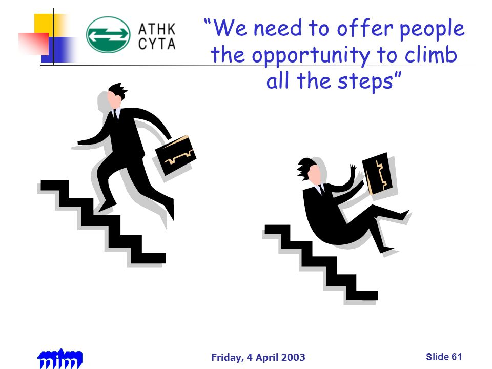 Friday, 4 April 2003Slide 61 We need to offer people the opportunity to climb all the steps