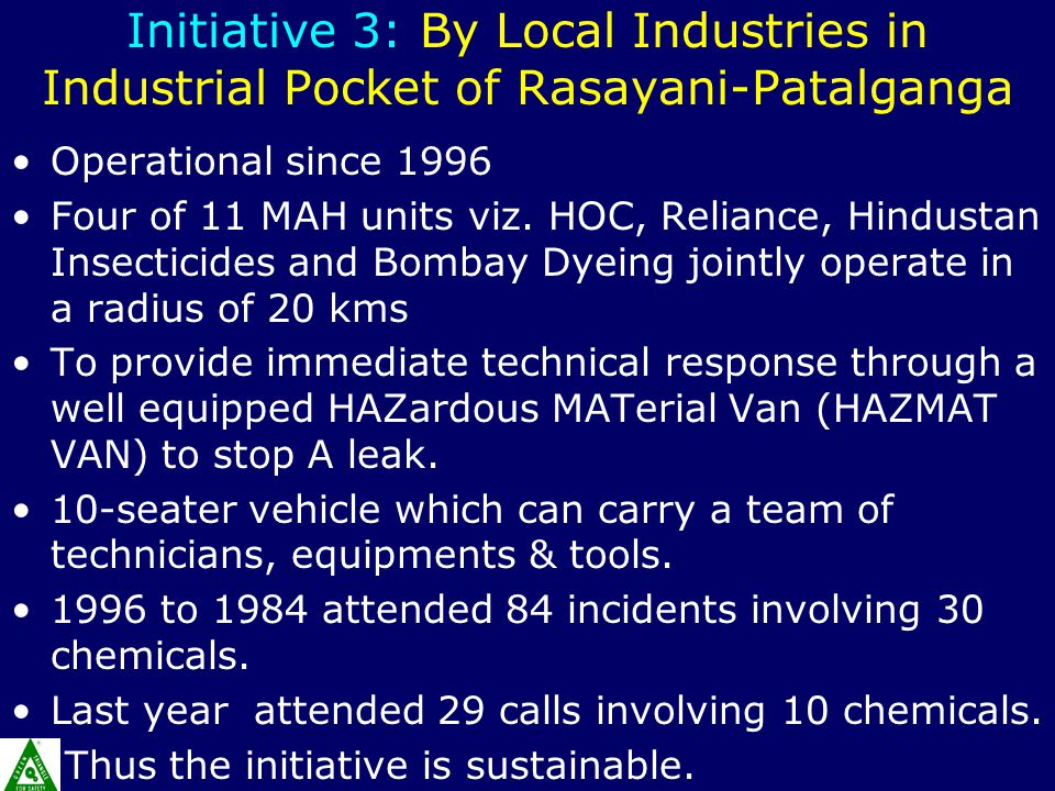 Initiative 3: By Local Industries in Industrial Pocket of Rasayani-Patalganga Operational since 1996 Four of 11 MAH units viz.