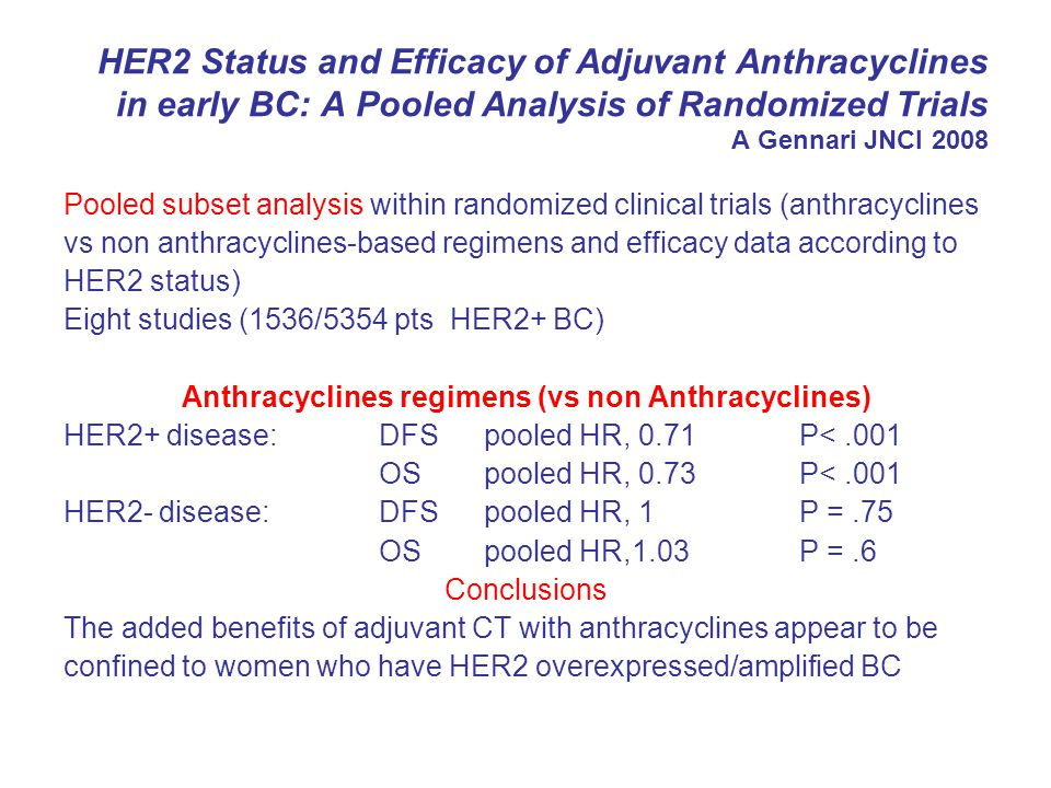 Summary Anthracyclines have been shown to be one of most effective agents in Breast Cancer, and changing treatment requires robust evidence Data from a single trial (USO 9735) and from retrospective subgroup analyses are intriguing but require substantiation before….