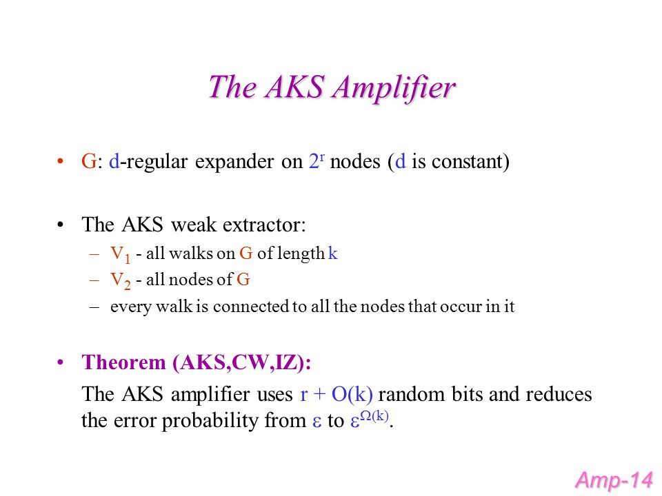 The AKS Amplifier G: d-regular expander on 2 r nodes (d is constant) The AKS weak extractor: –V 1 - all walks on G of length k –V 2 - all nodes of G –every walk is connected to all the nodes that occur in it Theorem (AKS,CW,IZ): The AKS amplifier uses r + O(k) random bits and reduces the error probability from  to   k).