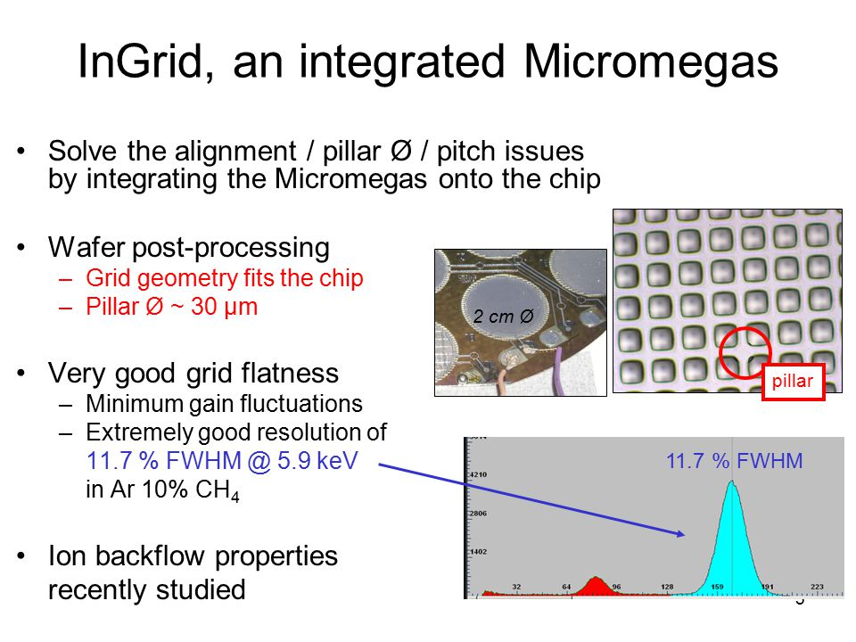 5 InGrid, an integrated Micromegas Solve the alignment / pillar Ø / pitch issues by integrating the Micromegas onto the chip Wafer post-processing –Gr