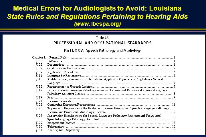 Medical Errors for Audiologists to Avoid: Louisiana State Rules and Regulations Pertaining to Hearing Aids (www.