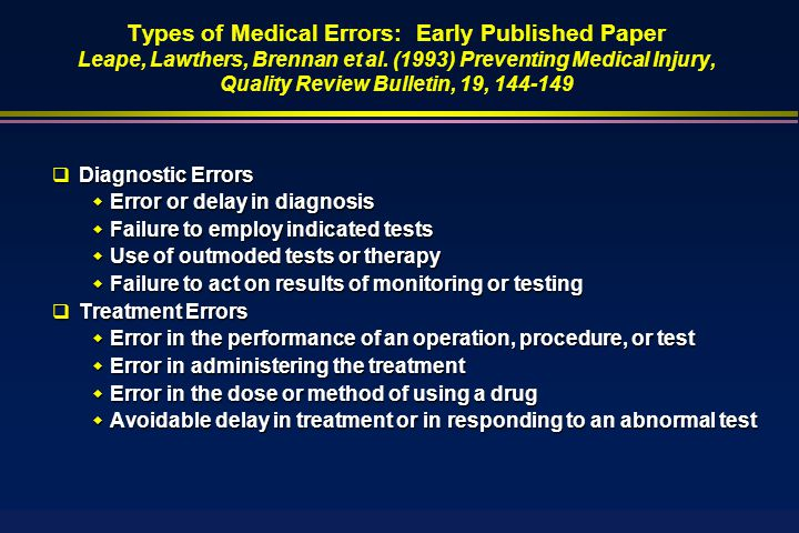  Preventive Errors  Failure to provide prophylactic treatment  Inadequate monitoring or follow-up of treatment  Other Errors  Failure of communication  Equipment failure  Other system failure Types of Medical Errors: Early Published Paper (From: Leape, Lawthers, Brennan et al.