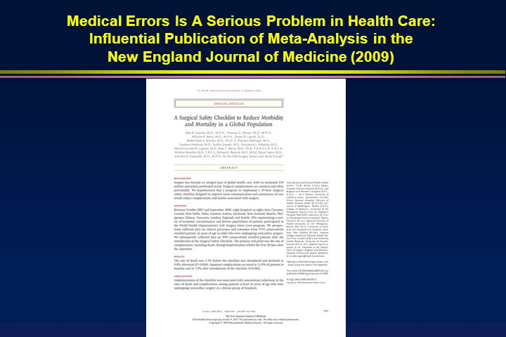   Most common medical errors committed by physicians and medical personnel  Drugs Giving the wrong drug Giving the wrong drug Giving right drug to wrong patient Giving right drug to wrong patient Giving right drug to the right patient, but with the wrong dose Giving right drug to the right patient, but with the wrong dose Giving the right drug to the right patient with the right dose at the wrong time Giving the right drug to the right patient with the right dose at the wrong time Giving the right drug to the right patient with the right dose at the right time via the wrong route (e.g., IV versus oral) Giving the right drug to the right patient with the right dose at the right time via the wrong route (e.g., IV versus oral) Giving two or more drugs that interact unfavorably or cause poisonous metabolic byproducts Giving two or more drugs that interact unfavorably or cause poisonous metabolic byproducts Medical Errors for Audiologists to Avoid: Historical Perspective