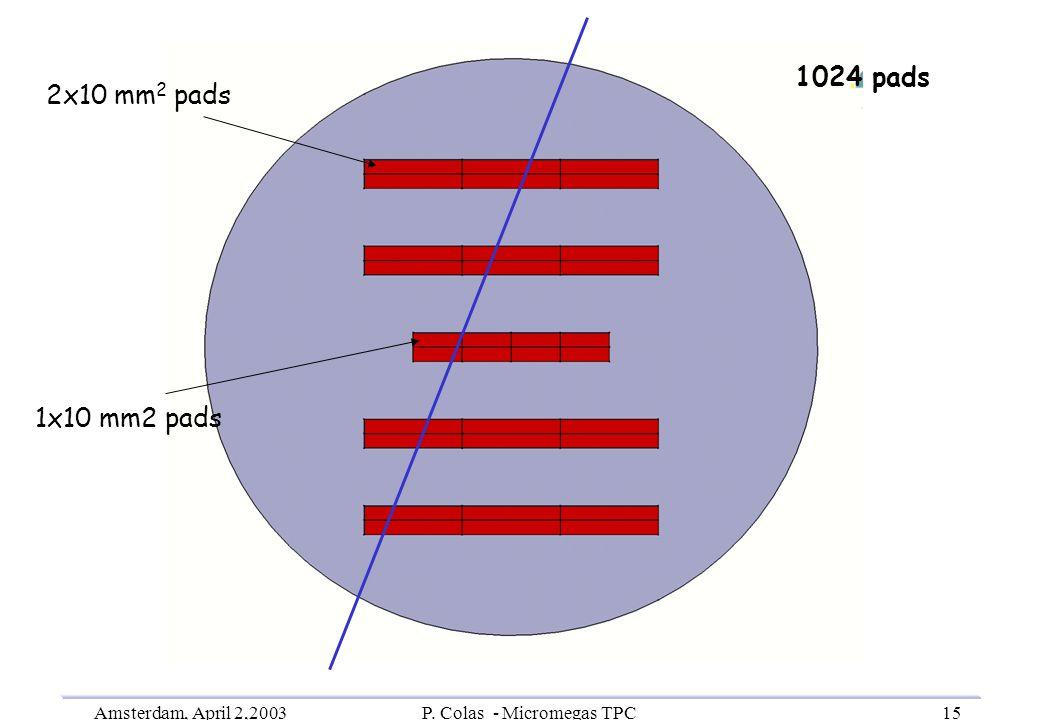 Amsterdam, April 2,2003P. Colas - Micromegas TPC15 2x10 mm 2 pads 1024 pads 1x10 mm2 pads