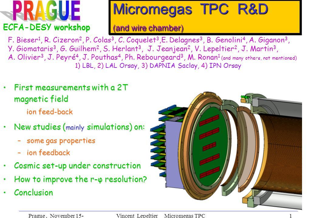Prague, November 15- 18th, 2002 Vincent Lepeltier Micromegas TPC R&D 2 First measurements in a magnetic field By P.