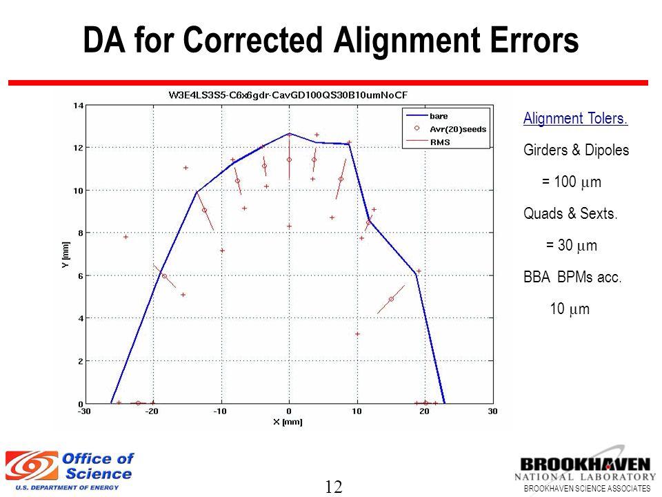 12 BROOKHAVEN SCIENCE ASSOCIATES DA for Corrected Alignment Errors Alignment Tolers. Girders & Dipoles = 100 µ m Quads & Sexts. = 30 µ m BBA BPMs acc.