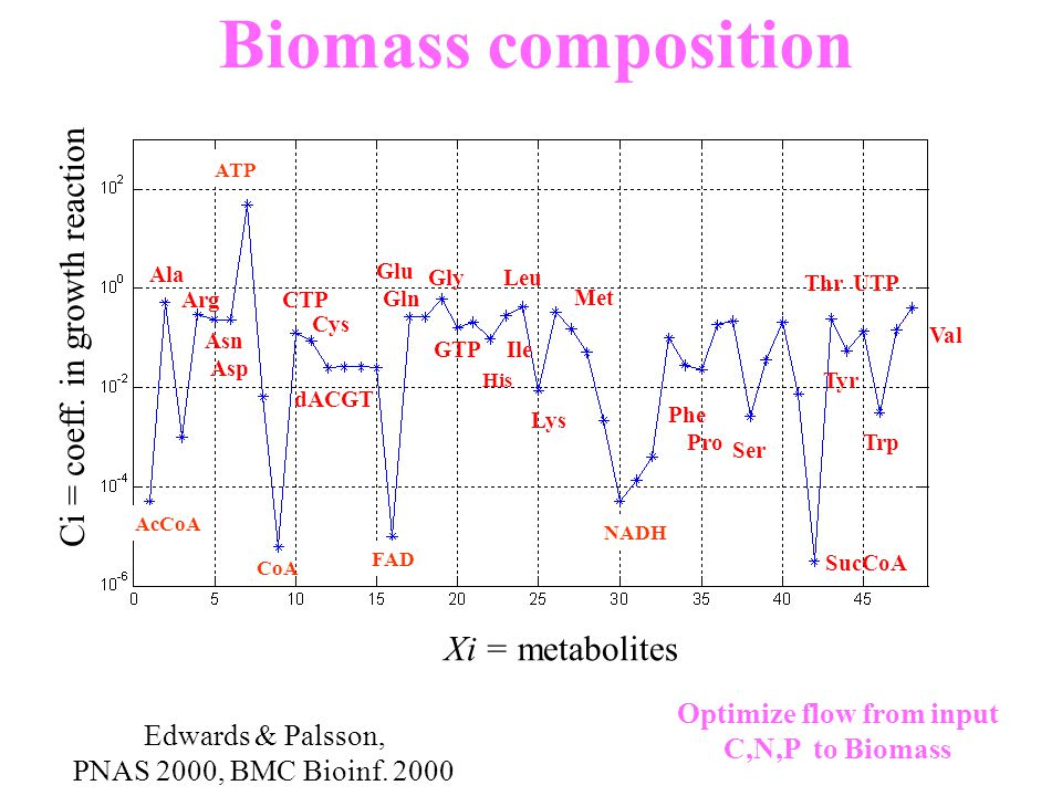 AcCoA CoA ATP FAD NADH Xi = metabolites Ci = coeff. in growth reaction Biomass composition Edwards & Palsson, PNAS 2000, BMC Bioinf. 2000 Optimize flo