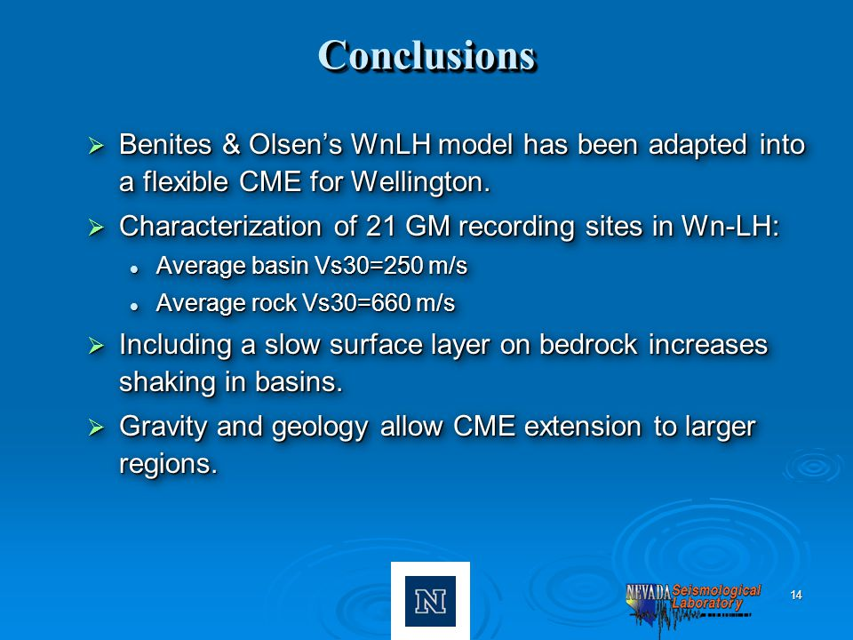 14 ConclusionsConclusions  Benites & Olsen's WnLH model has been adapted into a flexible CME for Wellington.