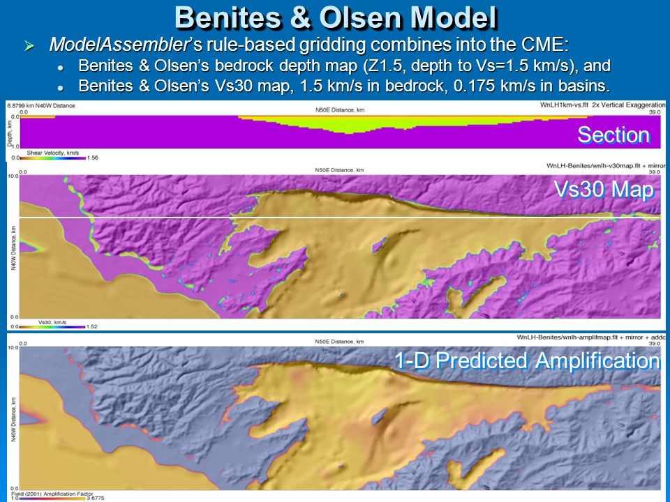 6 Benites & Olsen Model  ModelAssembler's rule-based gridding combines into the CME: Benites & Olsen's bedrock depth map (Z1.5, depth to Vs=1.5 km/s), and Benites & Olsen's bedrock depth map (Z1.5, depth to Vs=1.5 km/s), and Benites & Olsen's Vs30 map, 1.5 km/s in bedrock, 0.175 km/s in basins.