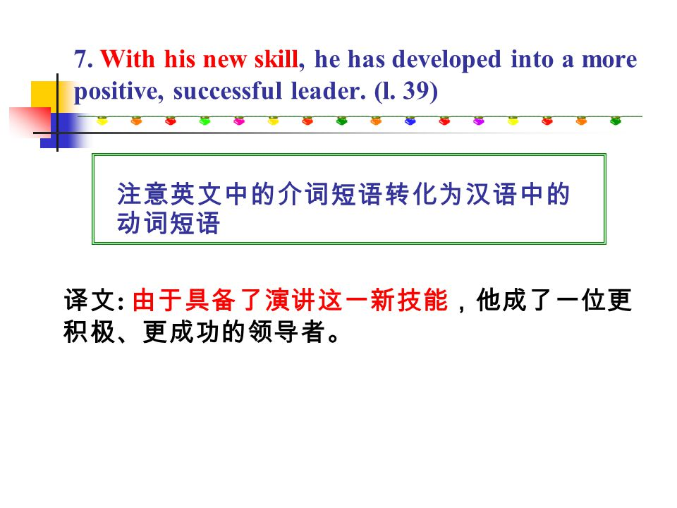 6. I know a manager who used to be frightened by the thought of speaking in front of an audience. (l. 32) 相关的词组: at the thought of … 一想到 ······ the ve