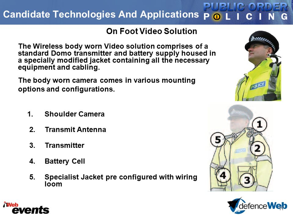 11 Candidate Technologies And Applications On Foot Video Solution 1.Shoulder Camera 2.Transmit Antenna 3.Transmitter 4.Battery Cell 5.Specialist Jacke