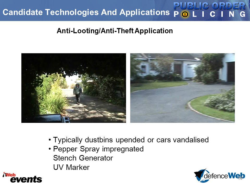 15 Candidate Technologies And Applications Anti-Looting/Anti-Theft Application Typically dustbins upended or cars vandalised Pepper Spray impregnated