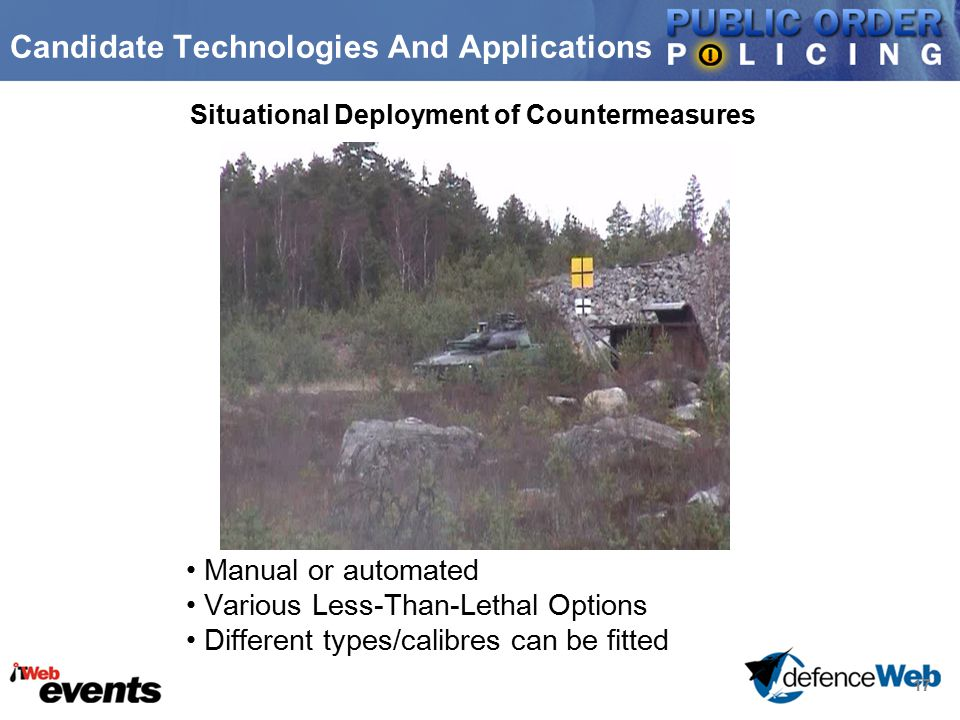 17 Candidate Technologies And Applications Situational Deployment of Countermeasures Manual or automated Various Less-Than-Lethal Options Different types/calibres can be fitted