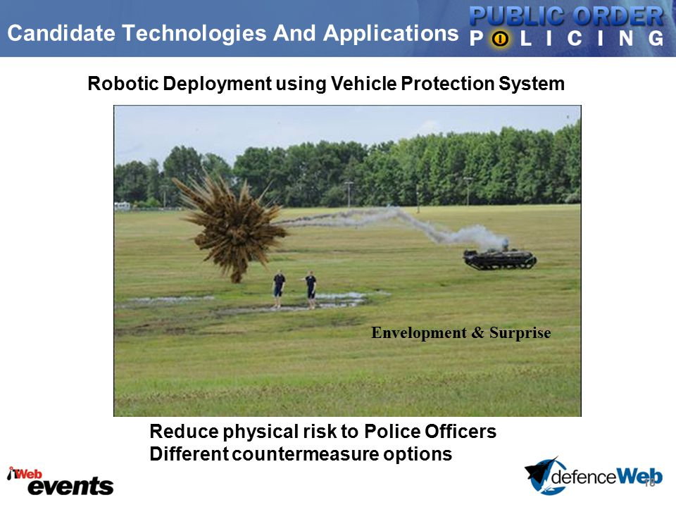 18 Candidate Technologies And Applications Robotic Deployment using Vehicle Protection System Reduce physical risk to Police Officers Different counte