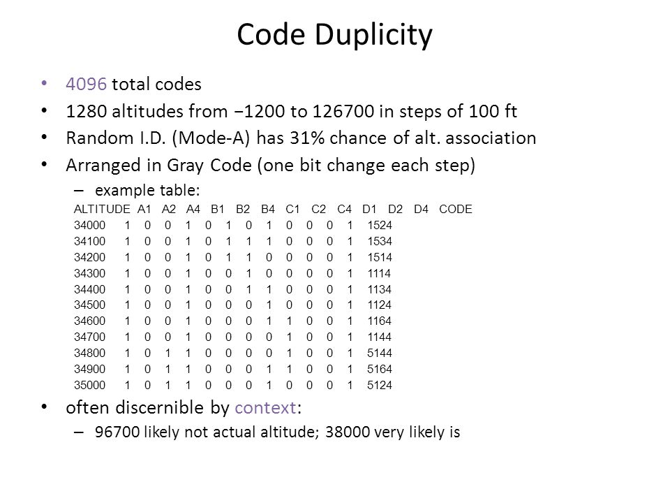 Code Duplicity 4096 total codes 1280 altitudes from −1200 to 126700 in steps of 100 ft Random I.D.