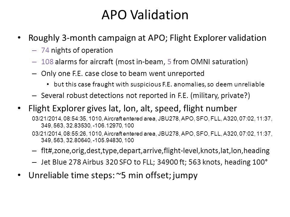 APO Validation Roughly 3-month campaign at APO; Flight Explorer validation – 74 nights of operation – 108 alarms for aircraft (most in-beam, 5 from OM