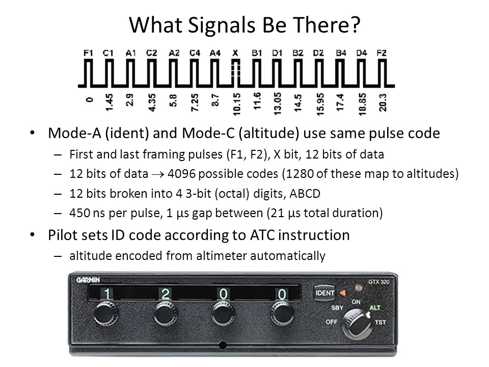 What Signals Be There? Mode-A (ident) and Mode-C (altitude) use same pulse code – First and last framing pulses (F1, F2), X bit, 12 bits of data – 12