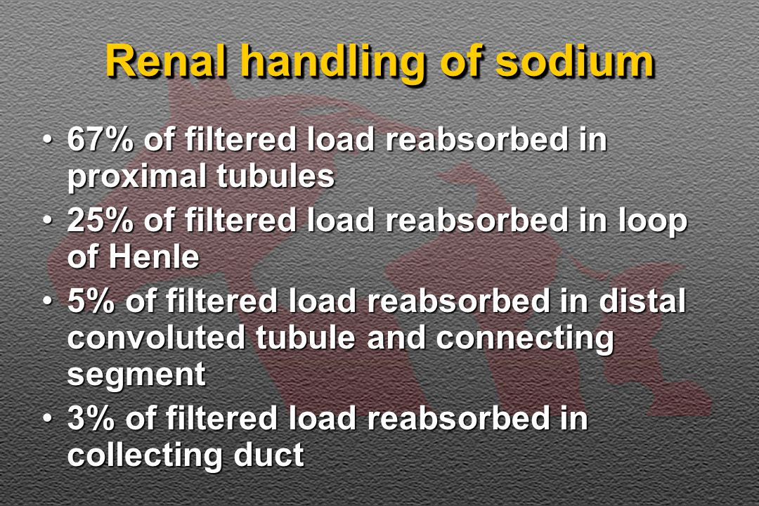 Renal handling of sodium 67% of filtered load reabsorbed in proximal tubules67% of filtered load reabsorbed in proximal tubules 25% of filtered load reabsorbed in loop of Henle25% of filtered load reabsorbed in loop of Henle 5% of filtered load reabsorbed in distal convoluted tubule and connecting segment5% of filtered load reabsorbed in distal convoluted tubule and connecting segment 3% of filtered load reabsorbed in collecting duct3% of filtered load reabsorbed in collecting duct
