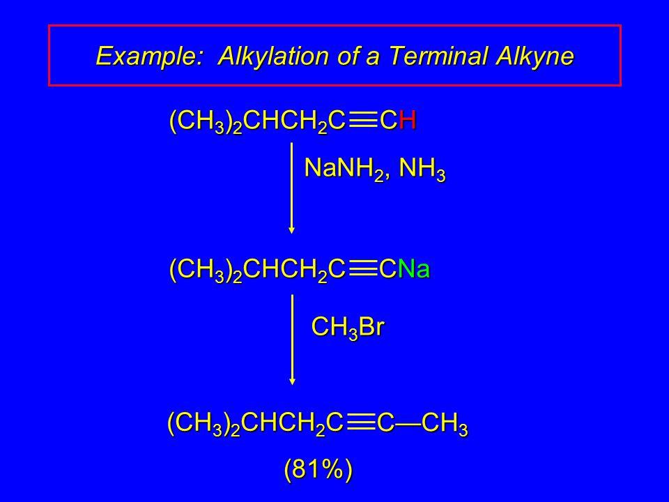 NaNH 2, NH 3 CH 3 Br CHCHCHCH (CH 3 ) 2 CHCH 2 C CNa (CH 3 ) 2 CHCH 2 C (81%) C—CH 3 (CH 3 ) 2 CHCH 2 C Example: Alkylation of a Terminal Alkyne