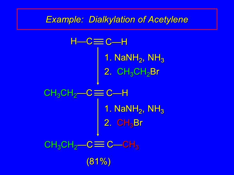 1. NaNH 2, NH 3 2. CH 3 CH 2 Br (81%)H—CC—H 1. NaNH 2, NH 3 2.