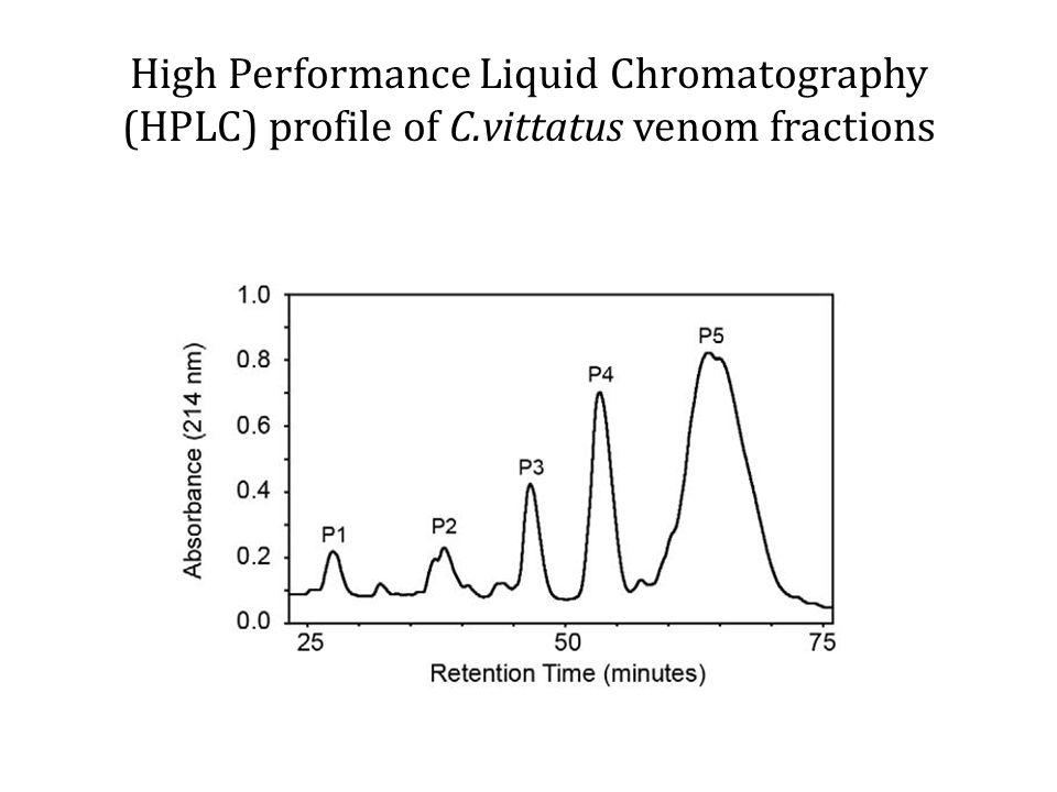 High Performance Liquid Chromatography (HPLC) profile of C.vittatus venom fractions