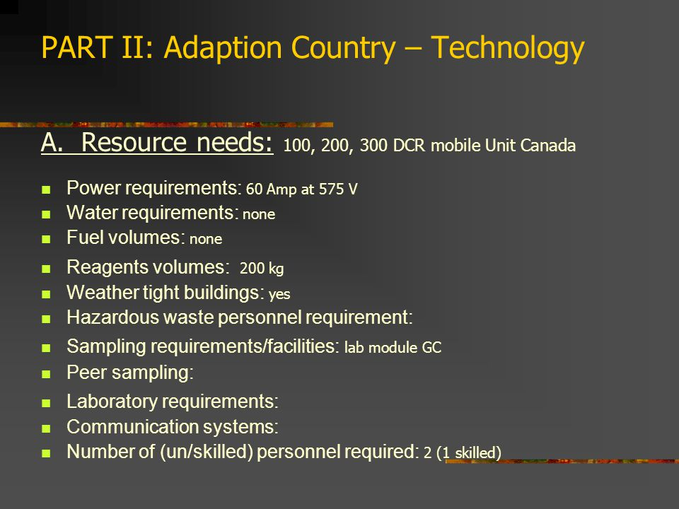 PART II: Adaption Country – Technology A.