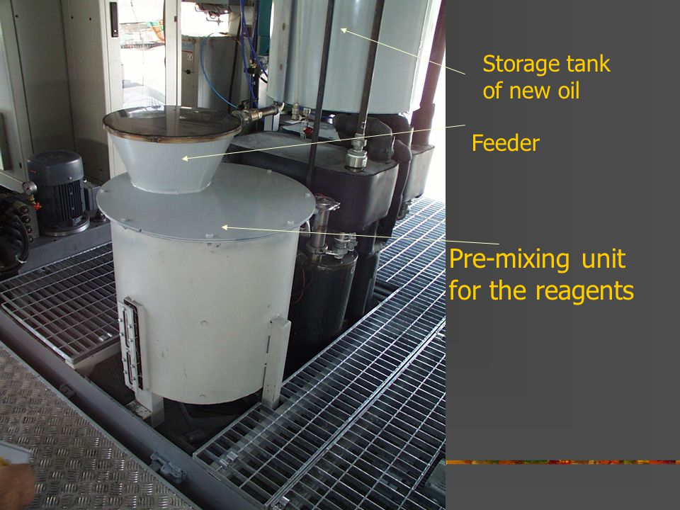 Pre-mixing unit for the reagents Storage tank of new oil Feeder
