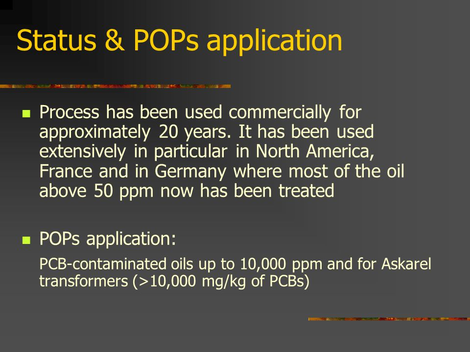 Status & POPs application Process has been used commercially for approximately 20 years.
