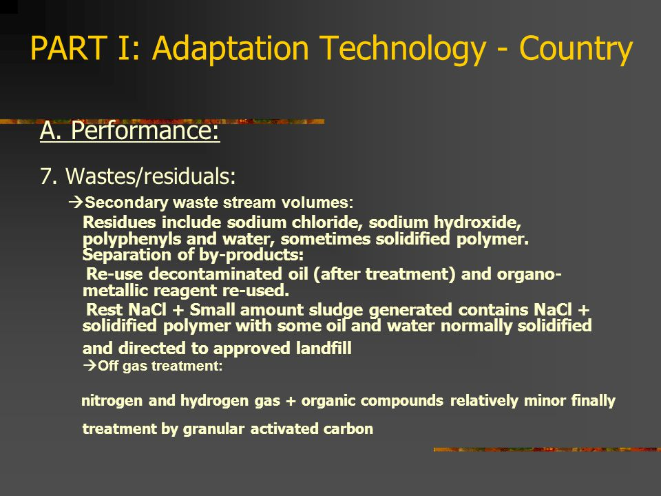 PART I: Adaptation Technology - Country A.