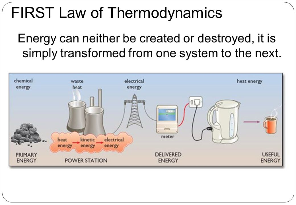 FIRST Law of Thermodynamics Energy can neither be created or destroyed, it is simply transformed from one system to the next.