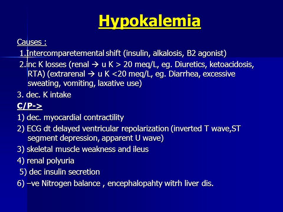 Hypokalemia Causes : 1.Intercomparetemental shift (insulin, alkalosis, B2 agonist) 1.Intercomparetemental shift (insulin, alkalosis, B2 agonist) 2.inc K losses (renal  u K > 20 meq/L, eg.