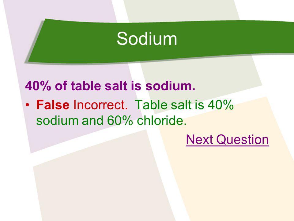 Sodium Salad dressings are high in sodium. True False
