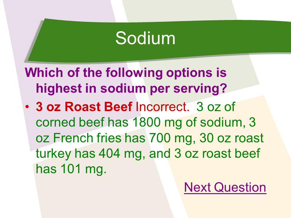 Sodium Which of the following options is highest in sodium per serving.