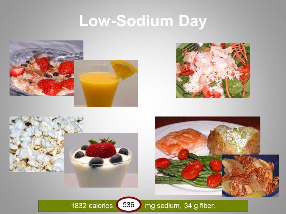 Low-Sodium Day 1832 calories, 536 mg sodium, 34 g fiber. 536
