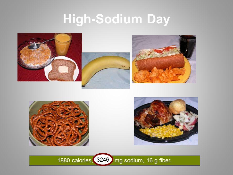 High-Sodium Day 1880 calories, 3276 mg sodium, 16 g fiber. 3246