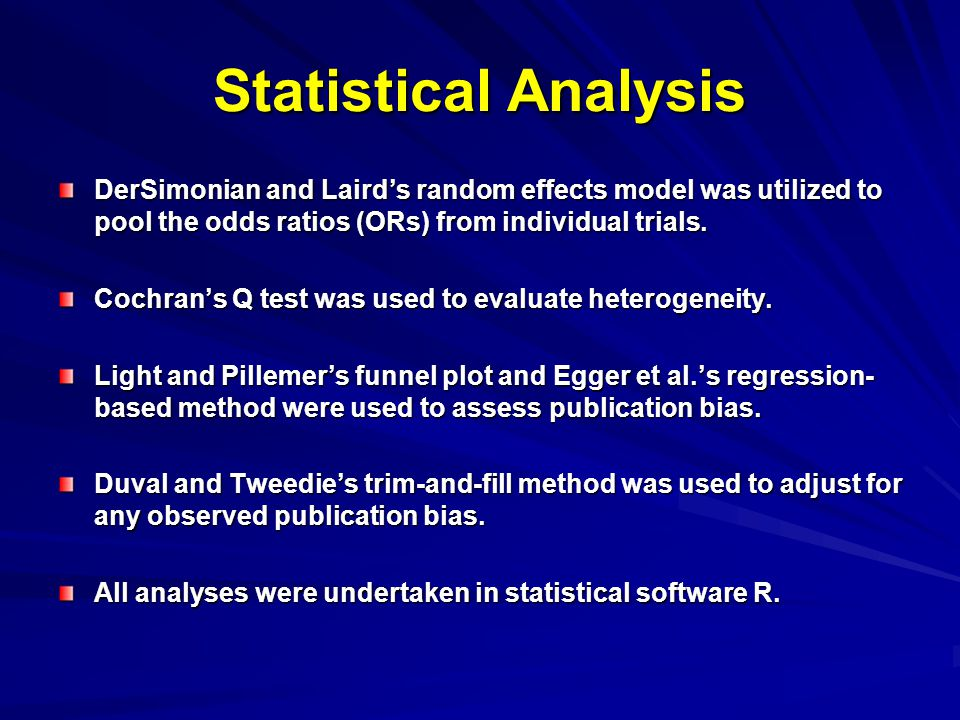Statistical Analysis DerSimonian and Laird's random effects model was utilized to pool the odds ratios (ORs) from individual trials.