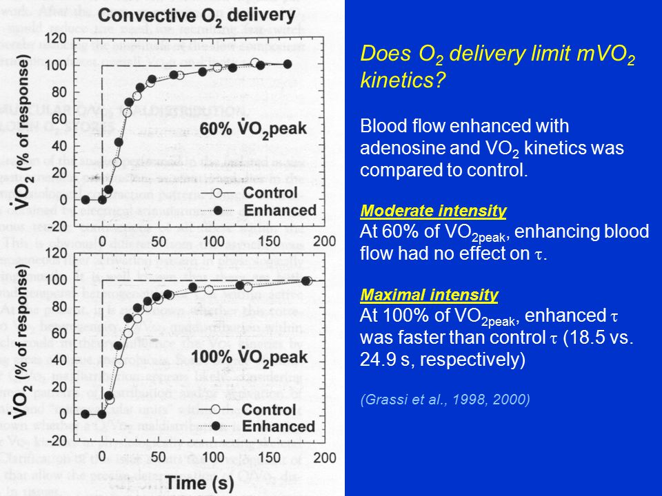 Does O 2 delivery limit mVO 2 kinetics? Blood flow enhanced with adenosine and VO 2 kinetics was compared to control. Moderate intensity At 60% of VO