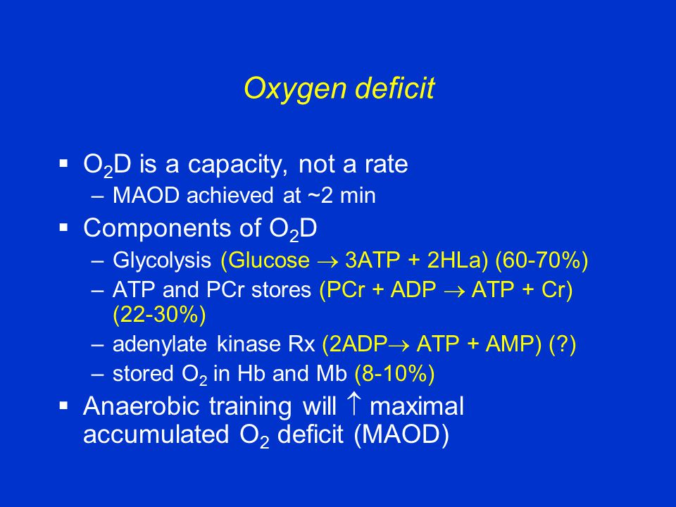 Oxygen deficit  O 2 D is a capacity, not a rate –MAOD achieved at ~2 min  Components of O 2 D –Glycolysis (Glucose  3ATP + 2HLa) (60-70%) –ATP and