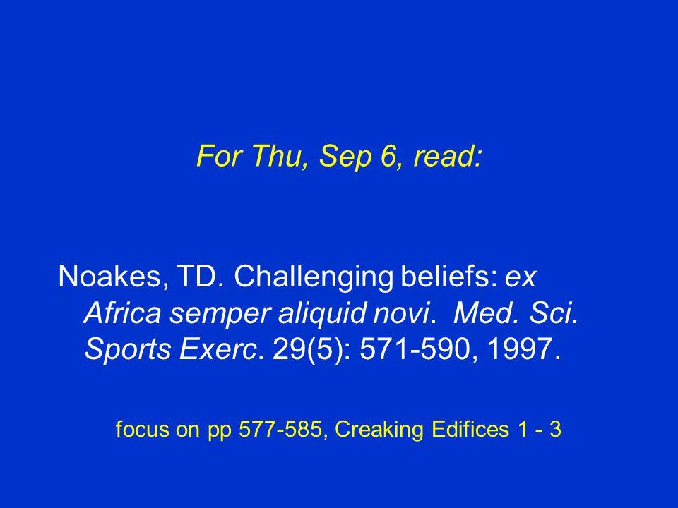 For Thu, Sep 6, read: Noakes, TD.Challenging beliefs: ex Africa semper aliquid novi.