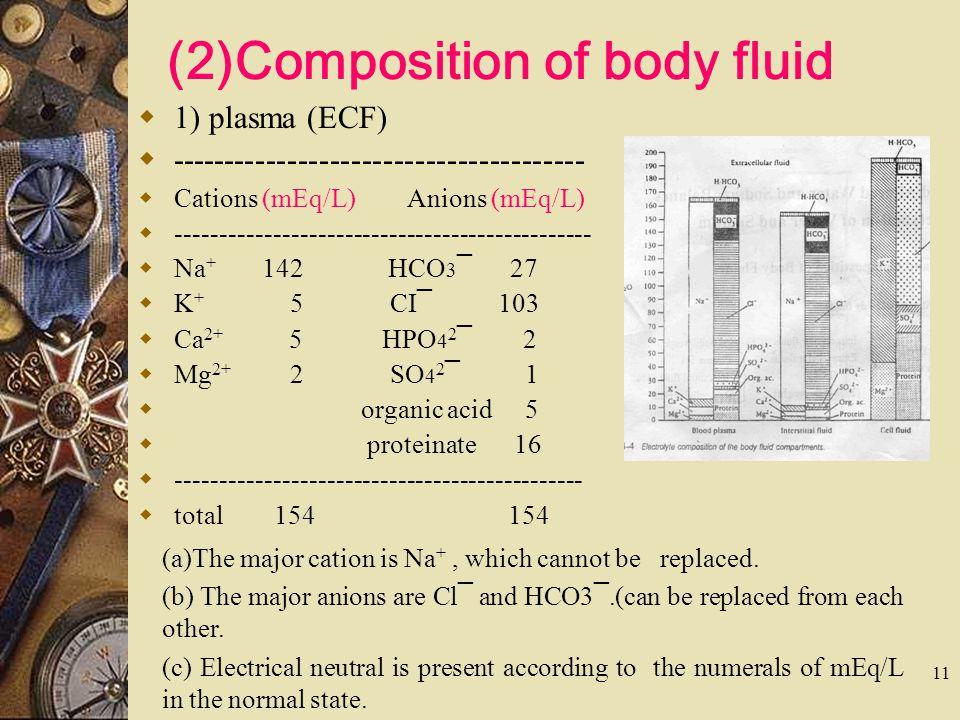11 (2)Composition of body fluid  1) plasma (ECF)  ---------------------------------------  Cations (mEq/L) Anions (mEq/L)  -----------------------