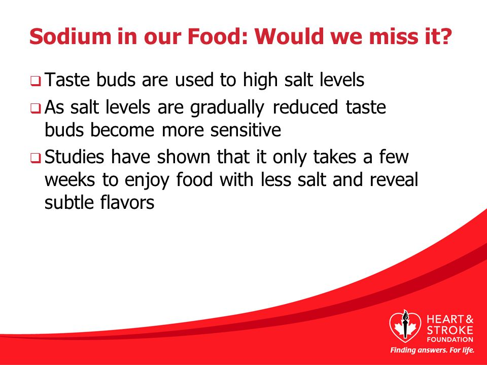 Sodium in our Food: Would we miss it.