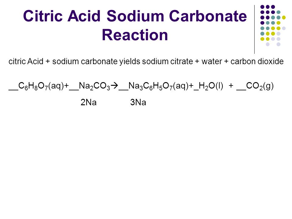 Citric Acid Sodium Carbonate Reaction citric Acid + sodium carbonate yields sodium citrate + water + carbon dioxide __C 6 H 8 O 7 (aq)+__Na 2 CO 3  _