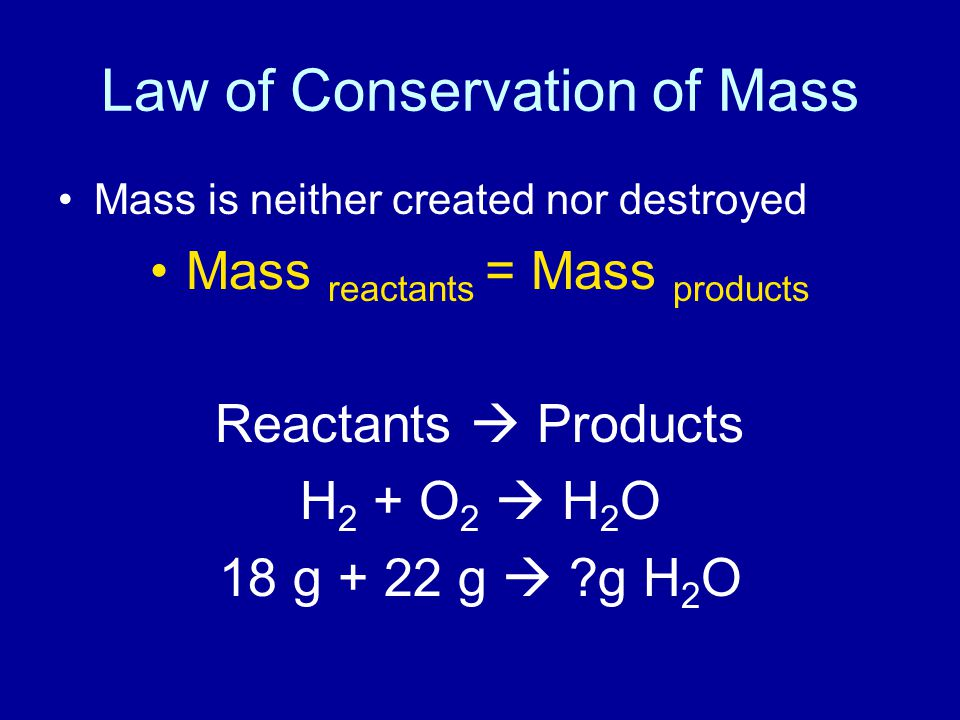 Steps to solve Law of Conservation of Mass problems 1.Write what you know chemical reaction reactants and their masses products and their masses 2.What are you solving for.