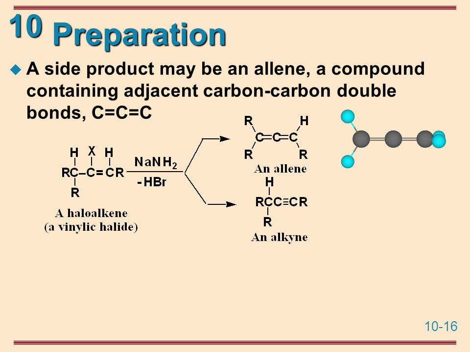 10-16 10 Preparation  A side product may be an allene, a compound containing adjacent carbon-carbon double bonds, C=C=C