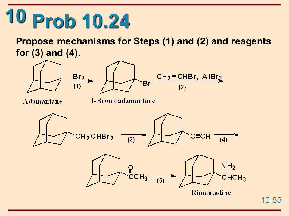 10-55 10 Prob 10.24 Propose mechanisms for Steps (1) and (2) and reagents for (3) and (4).