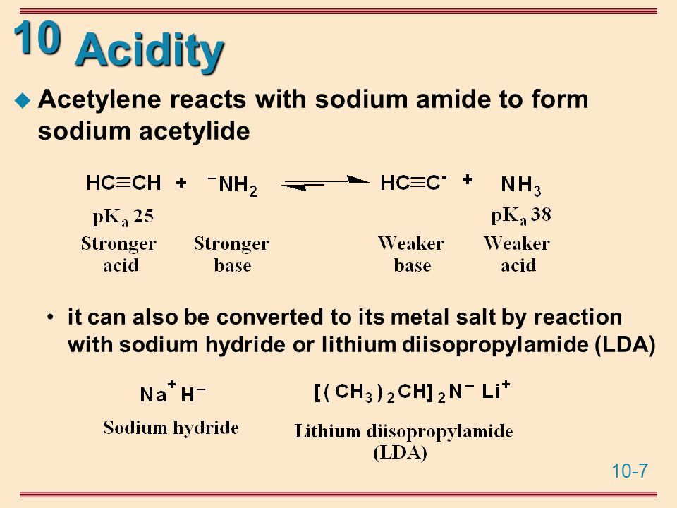 10-7 10 Acidity  Acetylene reacts with sodium amide to form sodium acetylide it can also be converted to its metal salt by reaction with sodium hydride or lithium diisopropylamide (LDA)