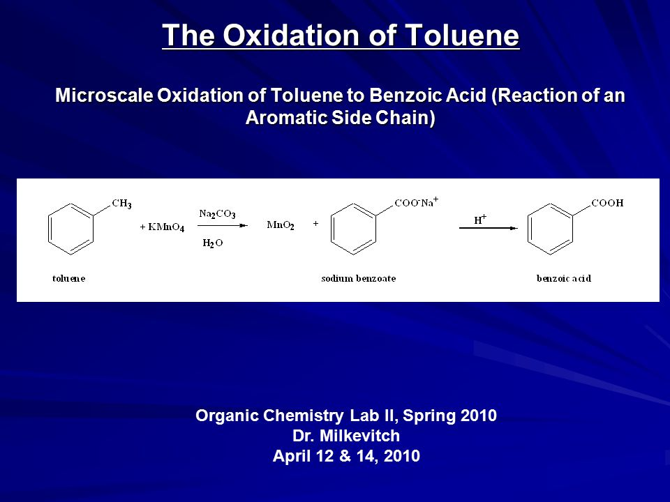The Oxidation of Toluene Microscale Oxidation of Toluene to Benzoic Acid (Reaction of an Aromatic Side Chain) Organic Chemistry Lab II, Spring 2010 Dr