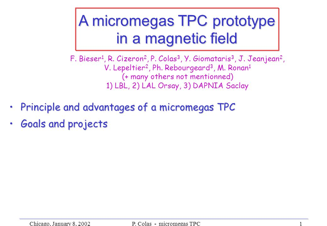 Chicago, January 8, 2002P. Colas - micromegas TPC1 A micromegas TPC prototype in a magnetic field Principle and advantages of a micromegas TPCPrincipl